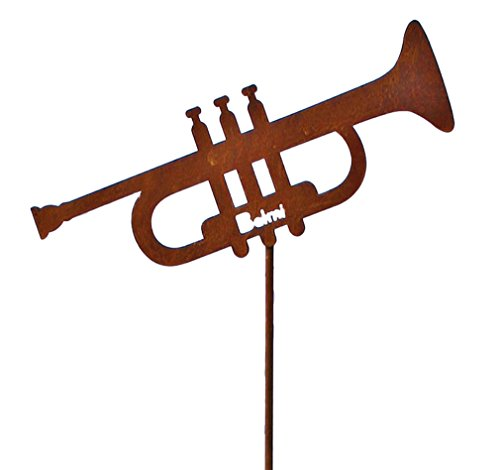 mugesh Gartenstecker Trompete - Schönes Geschenk für Musiker