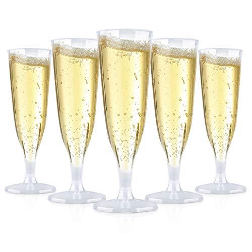 30 Pack 6.5 Oz Champagne Flutes Disposable,Plastic Champagne Flutes,Mimosa Bar Glasses,Transparent plastic champagne glass