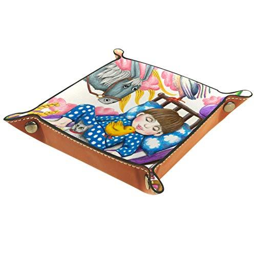 YATELI Caja de Almacenamiento pequeña, Bandeja de Valet para Hombre,Dibujos Animados del niño del Caballo del Perro del Gato,Organizador de Cuero para Llaves de Caja de Monedas