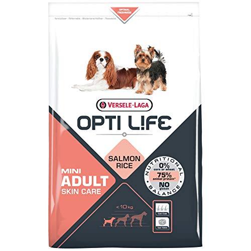 Global Pienso para Perros OPTI Life Skin Care Mini con salmón y arroz | Pienso para Perros de Raza Mini Versele Laga | Comida para Perros 7,5 kgs