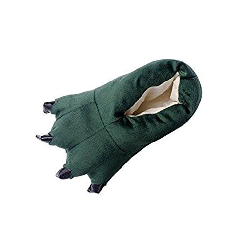 hippolo FashionFits Unisex suave felpa casa zapatillas zapatos de garra de huella de Animal Disfraz verde oscuro M(EUR31-38)