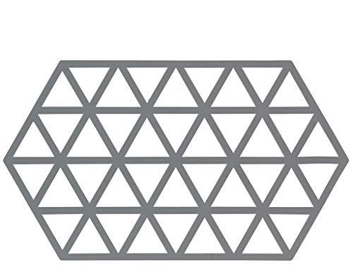 Dessous de Plat Design Triangles Silicone Gris - Grand Modèle