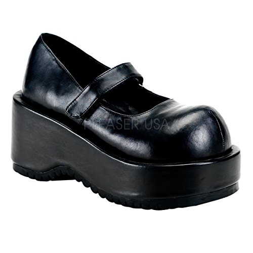 Demonia Pleaser dolly-01 3 1/4' P/F Goth Punk Lolita Blk in MJ W/Velcro 3 1/4' P/F, DOL01/B/PU 40, Nero