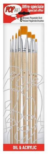 PEBEO 950250 - Set di pennelli, 8 pz, setole in Poliammide Color Oro, Punta Tonda (Numeri 0, 3, 6, 10) e Piatta (Numeri 2, 6, 10, 14)