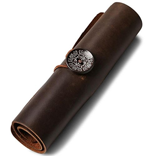 Tutoy Roll Up Cuir Multifonction 6 Trous Câble D'Écouteur Cosmétique Sac De Rangement Stylo Porte-Plume Pochette De Maquillage - Brun
