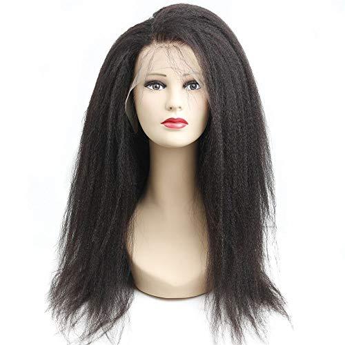 KHOBGLU 360 Perruques Frontales en Dentelle avec des Cheveux Bébé Pré Plumés Naturel Délié 150% Crépus Droite Cheveux Humains 360 Perruques en Dentelle 14 Pouces Couleur Naturelle
