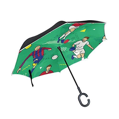 MyDaily Doppelschichtiger umgekehrter Regenschirm für Autos/Fußball-Spieler, Winddicht, UV-beständig, für Reisen und draußen