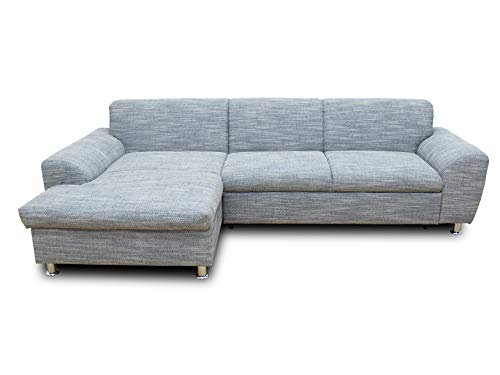 DOMO Collection Ecksofa Moonlight / Schlaffunktion / Stauraum / L-Form / Größe: 278 cm x 164 cm x 80 cm (BxTxH) / Bezug: Webstoff in beige-braun / Ecksofa mit Stauraum und Schlaffunktion