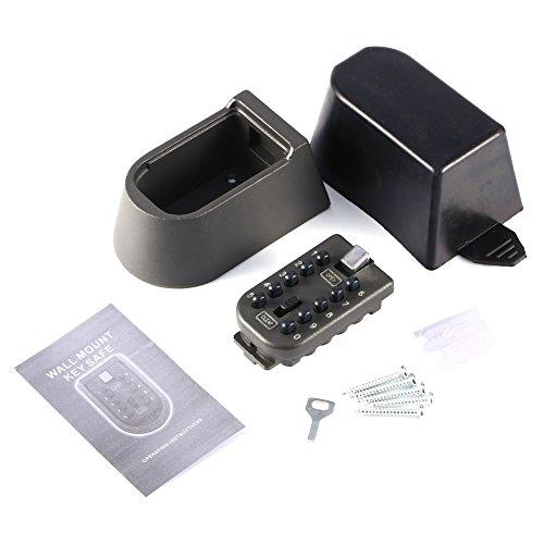CLAUKING Caja de Seguridad para Llaves de Pared, Caja de Almacenamiento con Cerradura de combinación de 10 dígitos y Llaves