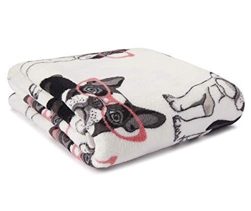 Fun Print Soft Cozy Lightweight 50 x 60 Fleece Throw Blanket (White with French Bulldogs in Glasses)
