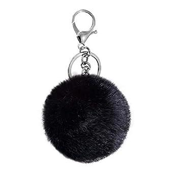 Cute Faux Rabbit Fur Ball Pom Pom Keychain Cityelf Car Key Ring Handbag Tote Bag Pendant Purse Charm  BLACK