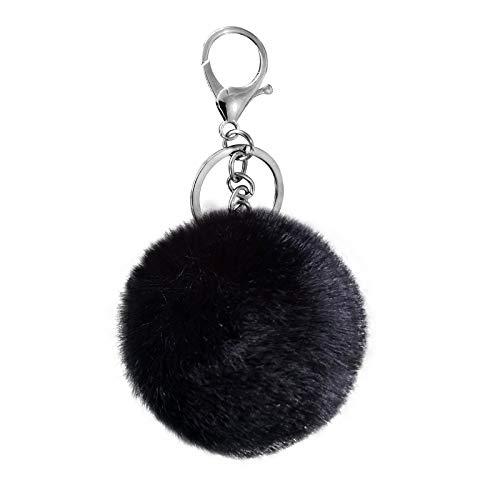 Cute Faux Rabbit Fur Ball Pom Pom Keychain Cityelf Car Key Ring Handbag Tote Bag Pendant Purse Charm (BLACK)