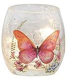 Stony Creek Glass Votive Light Orange Butterfly Pastel Design 3 Inch High