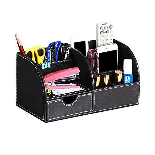 IWILCS Organizador de Escritorio de Piel sintética, Material de Oficina Multifuncional, Organizador de escritorio para bolígrafos teléfono móvil mando a distancial, Organizador de escritorio