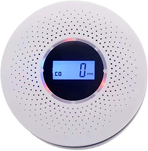 10 Year Smoke and Carbon Monoxide Detector - with LCD Display, Battery Operated Smoke Carbon Alarm Detector Combo Unit