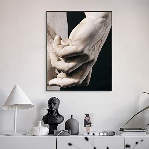 Li han shop Michelangelo Sculture Art Poster E Stampe Nero Bianco David Hand Wall Art Dipinti su Tela Immagini Soggiorno Decorazioni per La Casa 50X70Cm