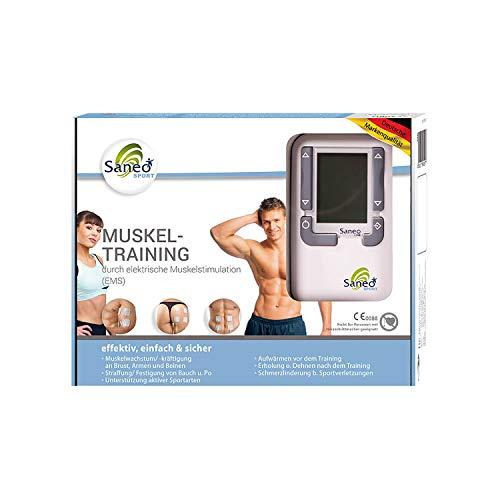 SaneoSPORT Muskeltraining elektrischer EMS TENS Muskelstimulator für Muskelaufbau am gesamten Körper | deutsche Markenqualität | Medizinprodukt