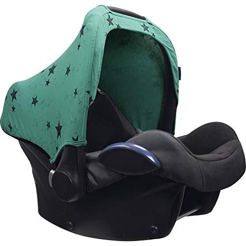 Original Dooky Hoody Green Star Sonnenschutz für Babyschalen Der Altersgruppe 0+ inkl. UV-Schutz 40+ Universal geeignet für die meisten Marken, grün