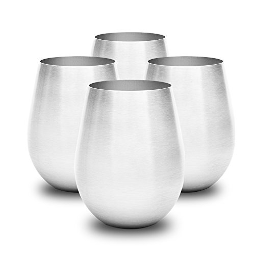 Stainless Steel Wine Glass Set is Stylish amp Sturdy Unbreakable Wine Glass Won#039t Fog or Scratch Stemless Wine Tumblers Make Great Travel Or Camping Wine Glasses Perfect Gift Easy To Clean Wine Cups