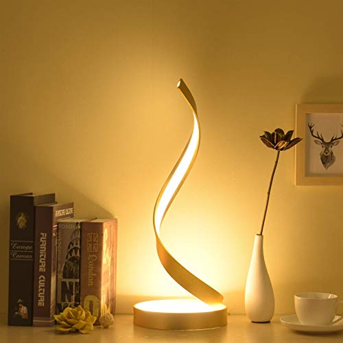 Spiral Led Desk Lamp Eye-Care, Table Lamp Chrome Minimalist Modern Metal Decorative Remote Dimmable with Dimmer Switch for Living Room Bedroom Study, Art Deco Reading Lamps for Bedside Table,Gold