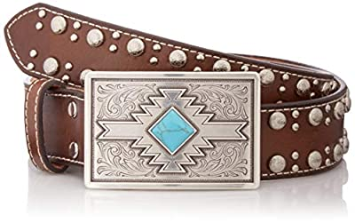 Nocona Belt Co. Women's Stud Edge Aztec Turquoise Buckle Belt, brown, Extra Large