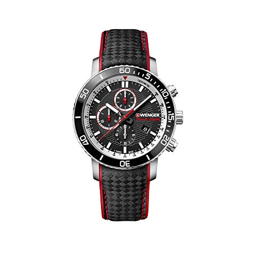Wenger Hombre Roadster Black Night Chronograph - Reloj de Acero Inoxidable de Cuarzo analógico de fabricación Suiza 01.1843.105