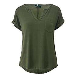 09f64de00618fa MAI CHUS Women's Solid V Neck T Shirts Casual Loose Short Sleeve Blouse  with Pocket.