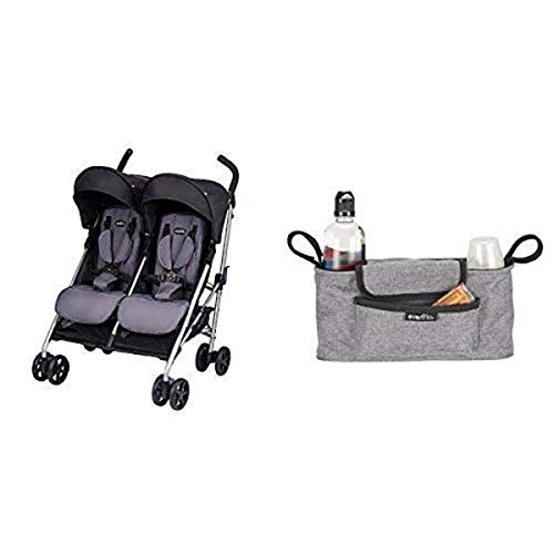 Great Deal! Evenflo Minno Twin Double Stroller, Glenbarr Grey with Universal Stroller Organizer