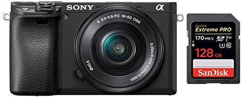 Sony Alpha ILCE-6400L 24.2MP Mirrorless Digital SLR Camera (Black) with 16-50mm Power Zoom Lens + SanDisk 128GB Extreme Pro SDXC UHS-I Card – C10, U3, V30, 4K UHD, SD Card