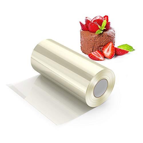 H HOMEWINS Colliers à Gâteau Rhodoïd Rouleau Ruban Bord en Film Cercle de Pâtisserie Transparent Feuille pour Mousse Chocolat Décoration de Gâteaux (8CM×10M×125 Micron)