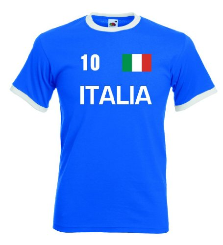 Fruit of the Loom Italia/Italien Herren T-Shirt Retro Trikot Nr.10 royal XL