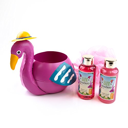 Accentra Geschenkset für Frauen Flamingo - inklusiv Schaumbad, Schwamm & Duschgel mit Erdbeerduft im Flamingo aus Metall