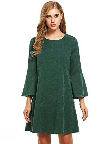 Meaneor Damen Kleid Winterkleid Elegant O-Ausschnitt Locker Casual Langarm Lang Groß Ärmel Blau/Grün/Rot