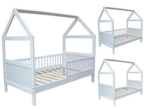 Micoland Kinderbett Juniorbett Bett Haus 160x70 cm massiv Weiss umbaubar