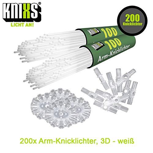 KNIXS 200x Arm-Knicklichter Gletscherweiß / Weiß leuchtend inkl. 200 x 3D-Verbinder und je 4 x Ballverbinder und 7-Lochverbinder für Party, Festival, Geburtstag oder als Dekoration, geprüfte Markenqualität