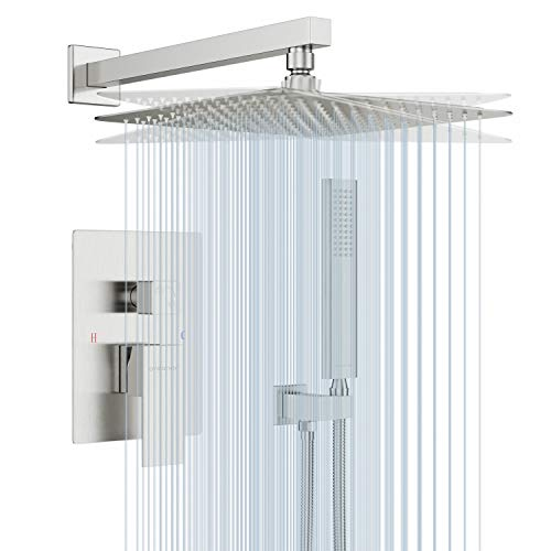 EMBATHER Shower System- Brushed Nickel Shower Faucet Set for Bathroom- State-of-the-art Air Injection Technology- 12  Square Rain Shower Head- Easy Installation- Eco-Friendly
