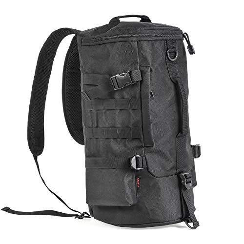 Leo Fishing Tackle Storage Bag Portable Outdoor Multifunctional Fishing Gear Bag Large Saltwater Resistant Soft Wide Sided Shoulder Backpack Sling Bag for Traveling Fishing (Cylindrical (Black))