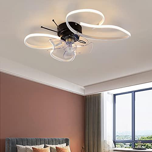 Ventilador Techo Con Luz Y Mando A Distancia Lampara Ventilador Techo Dormitorio Silencioso Ventilador Techo Con Luz Led Silencioso Lampadario Ventilatore 62CM*47CM 45W,Blanco