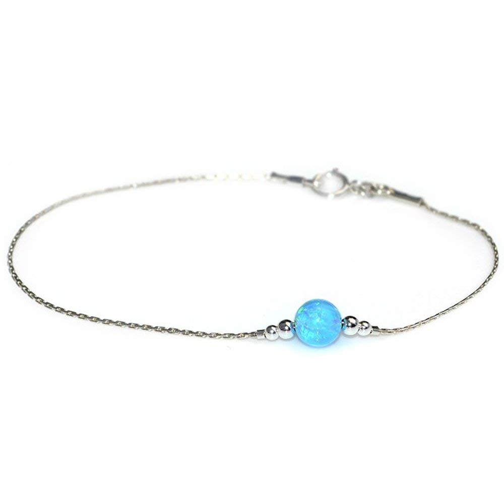 Super special price Silver Dainty 6mm Blue Opal Bracelet Max 79% OFF B Bead Drop