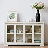 FANTASK Kitchen Storage Cabinet Sideboard, Stackable Buffet w/Height-Adjustable Shelf & 2 Glass Sliding Doors, Accent Console Table for Kitchen Dining Living Room Hallway Office (Cream White)