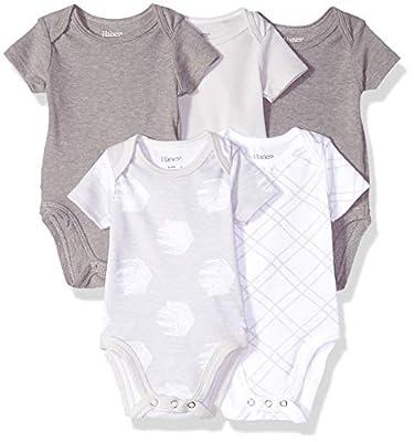 Hanes Ultimate Baby Flexy 5 Pack Short Sleeve Bodysuits, Grey Fun, 12-18 Months