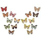 Gitua, 100 bottoni in legno a forma di farfalla, 28 mm, colorati per bambini, per bricolage, cucito, artigianato, pittura, fai da te, decorazione