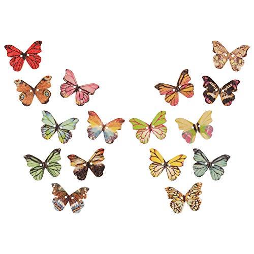 angelikashalala - Botones de madera para manualidades (50 unidades), diseño de mariposas