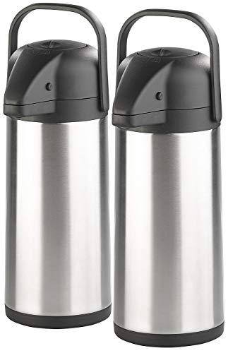 Rosenstein & Söhne Pump Isolierkanne: 2er-Set doppelwandige Vakuum-Isolierkannen mit Pumpsystem, je 3 l (Pumpkrug)