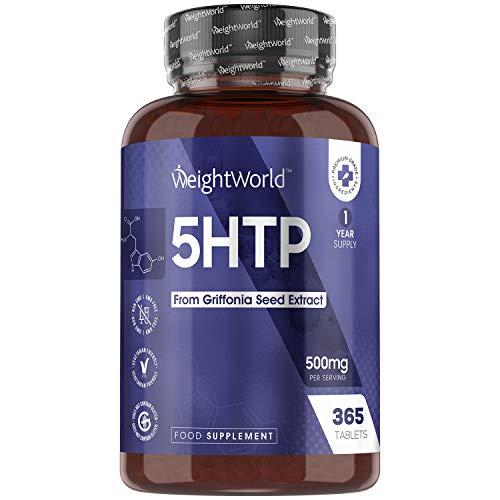 5 HTP ad Alto Dosaggio 500mg - 365 Compresse Vegan (1 Anno di Fornitura) - 5 htp Integratore Naturale - Mente, Sonno e Relax - Adatto a Vegetariani e Vegani - Triptofano Integratore Senza Glutine