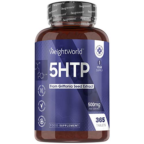 5HTP 500mg - 365 Tablets (1 Year Supply) - Natural 500mg 5HTP Supplement for Body & Mind, Natural Relief, Natural Griffonia Seed Extract, Rest Balance, Brain Health Vegan Tablets