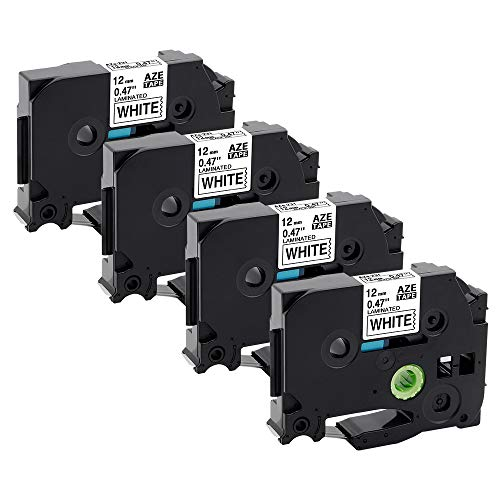 ASprink Compatible Label Tape Replacement for Brother Label Maker Tapes TZe-231 12mm 0.47 Laminated White TZe231 TZ231 for PT-D210 PT-H110 PT-D600 PT-1230PC PT-1280, 26.2 Feet, 4-Pack