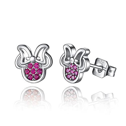 HHBB Pendientes pequeños de plata de ley 925 con circonita cúbica rosa Minnie pendientes para mujer