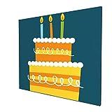 Lienzo para decoración de pared, diseño de tarta de Brithday, celebra fiesta, crema, tarjeta de fiesta, pintura de arte, decoración de pared para el hogar, estirado y enmarcado de 50,8 x 60,9 cm