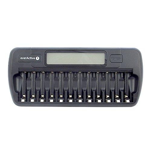 everActive Ladegerät für 12 Akkus AAA AA, schnelle Ladung - 4 Stunden Akku-Set, LCD Anzeige, Auffrischungsmodus, KFZ Adapter, Modell: NC-1200